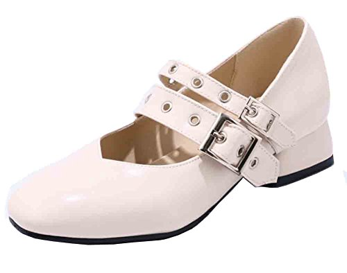Easemax Femmes Élégant Orteil Carré Double Boucle Ceinture Bas Bloc Talon Mary Jane Pompes Chaussures Beige