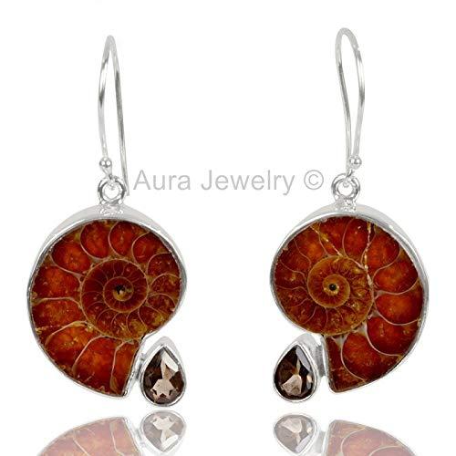 (925 Sterling Silver Earrings for Womens, Drop & Dangle Earrings, Ammonite, Smoky Quartz Earrings Sterling Silver for Womens, Gift for Womens, Mom, Bridesmaid Gift, Handmade Jewelry)