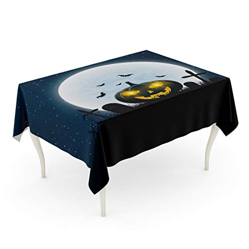 Tarolo Rectangle Tablecloth 60 x 102 Inch Blue Abstract for Halloween Party The Night Scene of Horrors Crosses Graves and Glowing Pumpkin Gold Dust Full Moon Club Orange Table Cloth]()