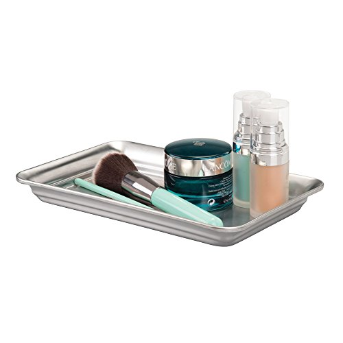 InterDesign Metal Vanity Tray, Non-Slip Guest Towel Board for Bathroom, Kitchen, Office, Craft Room, Countertops, Closets, 6.5