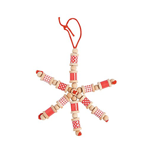 Fun Express - Red White Wooden Spool Snowflake ck for Christmas - Craft Kits - Ornament Craft Kits - Non Foam - Christmas - 12 Pieces