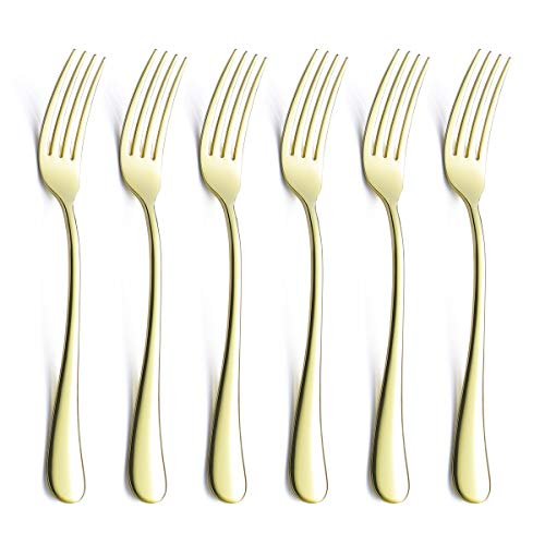 - Dinner Forks Set For 6 Piece Champagne Gold 18/0 Stainless Steel 8 Inch Silverware Flatware Table Dessert Fork Only Serving for 6 Modern Eating Cutlery Open Stock Bulk Round Edge Handle