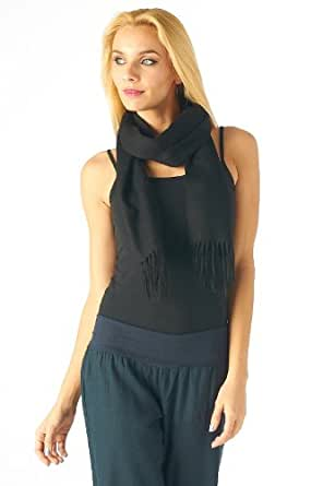 High Style 100% Cashmere Men and Women Solid Scarf (001, Black)