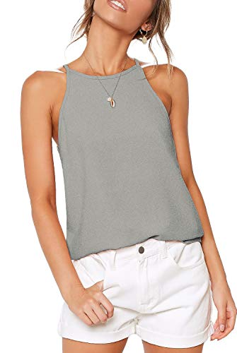 LouKeith Womens Shirts Halter Tank Tops Summer Sleeveless Workout Yoga Racerback Casual Spaghetti Strap Beach Tee Shirts Blouses Gray XL