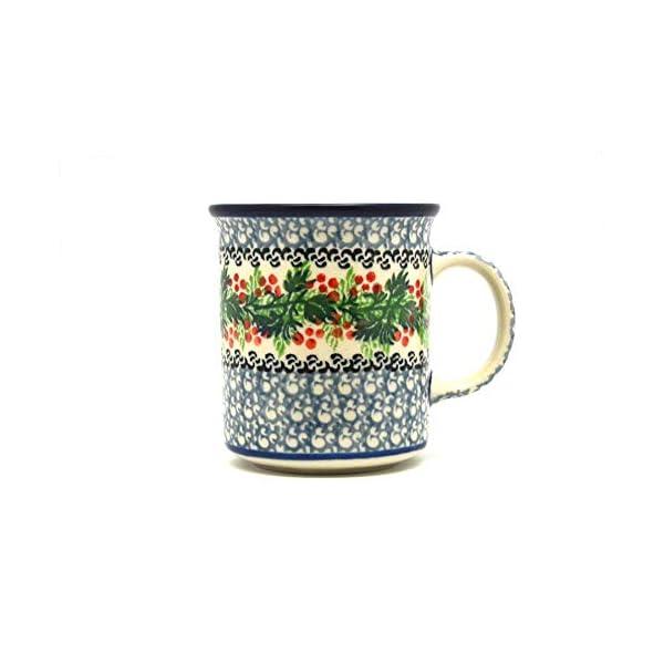 Polish Pottery Mug – Straight Sided – Holly Berry