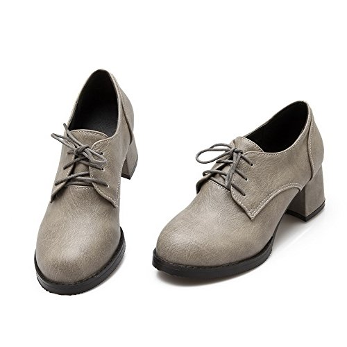 AllhqFashion Damen Rein PU Leder Mittler Absatz Rund Zehe Schnüren Pumps Schuhe Grau