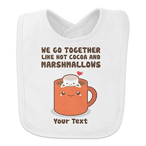 Personalized Custom 1 Line Hot Cocoa and Marshmallows Best Friends Baby Bib - White