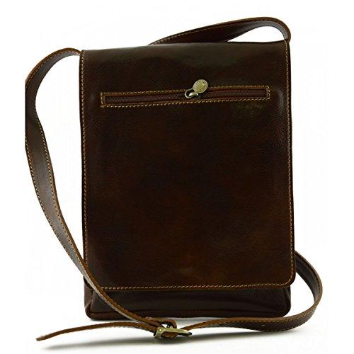 Echtes Leder Umhängetasche Für Ipad Und Tablet Farbe Braun - Italienische Lederwaren - Herrentasche