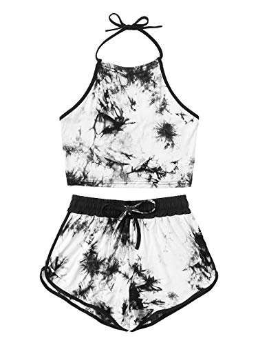 SweatyRocks Women's 2 Piece Sets Halter Backless Tie Dye Crop Top and Shorts Sets Black White M