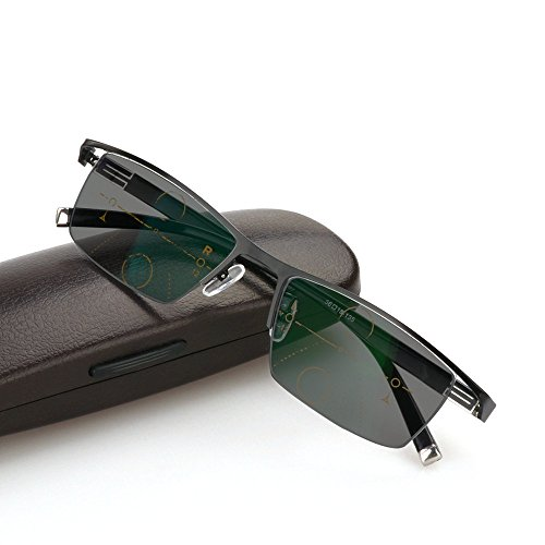 MINCL/Sun Photochromic Reading Glasses Men adjustable vision With Multifocal Diopter Progressive glasses lentes (black, SPH 0 ADD+100)