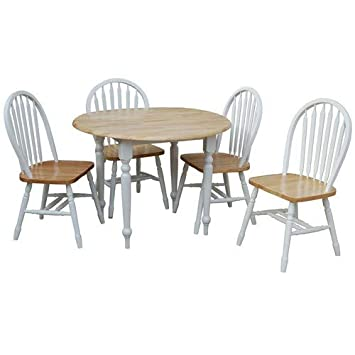 TMS 5 Piece Drop Leaf Dining Set, White Natural