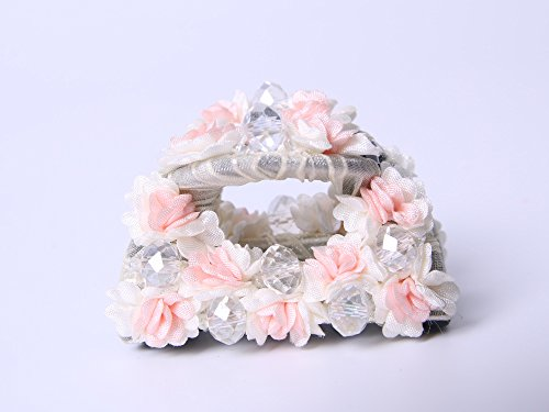 Lovely daisy claw clips hair with crystal beads (White) - White Light Up Hairclip For Girls