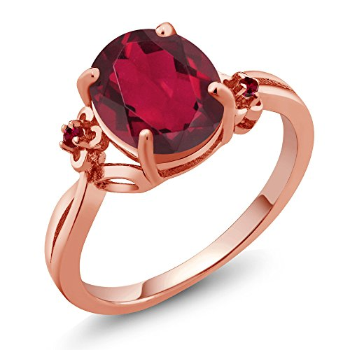 2.73 Ct Oval Red Mystic Quartz Red Created Ruby 14K Rose Gold Ring (Ring Size 6) (Gold Red Ring Designer)