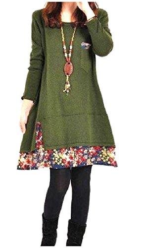 Mini Printed Dress s Green Sleeve Splice Women Crewneck Floral Comfy Army Long xTfq4nHw