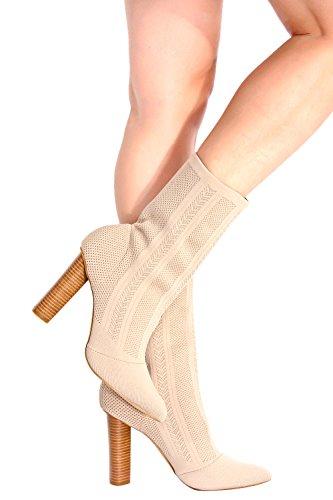 Lolli Couture Stretch Gebreide Puntschoen Hoge Hak Dikke Laars Nudeknit-m05-27