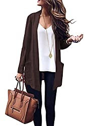 Vinciney Women S Long Sleeve Knitted Long Cashmere Cardigan Sweaters Outerwear With Pocket M Coffee