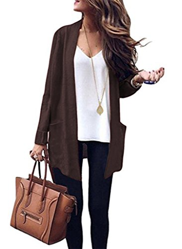 VINCINEY Women's Knit Cardigan Long Sleeve Loose Fit Long Sweater Outerwear Coat with Pocket L Coffee