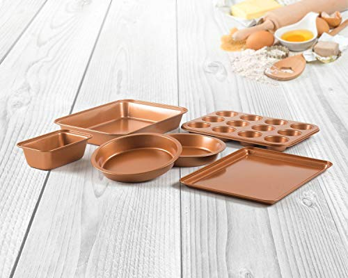 6 Piece Non-Stick Copper Ceramic Bakeware Set