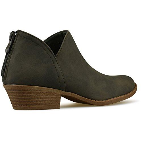 Premier Women's Closed Comfortable Bootie Panel Walking Ankle Side Heel Shoe Olive Casual �C Green Boot Low Elastic Standard Toe frqgAwf