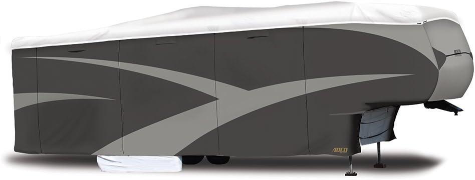 """ADCO Designer Series DuPont Tyvek Fifth Wheel Trailer Cover Gray/White - 34'1"""" - 37' (34856)"""