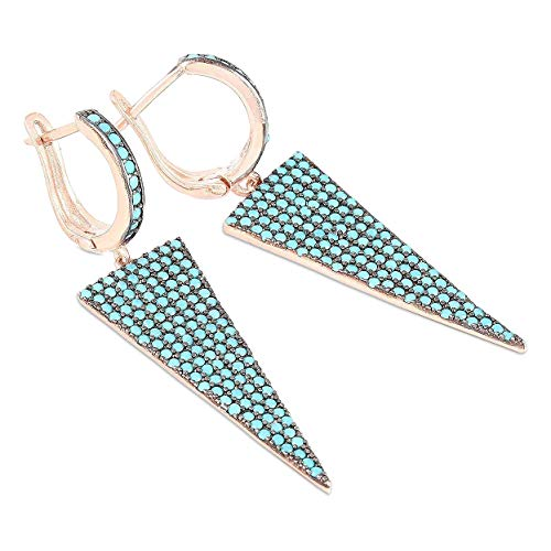 Chimoda Earrings for Women, 925 Sterling Silver, Blue Turquoise Stone, Rose Plated Women's Jewelry, Drop Dangle Style (Rose Gold Turquoise Earrings)