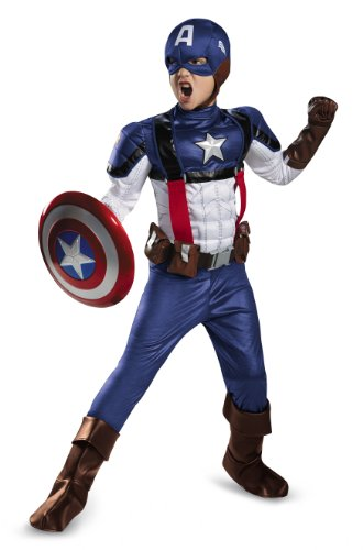 Captain America Avengers Costume Boots (Disguise Marvel Captain America The Winter Soldier Movie 2 Captain America Retro Prestige Boys Costume, Medium (7-8))