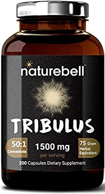 NatureBell Tribulus Terrestris Extract 50:1, 1500mg Per Serving, 200 Capsules, Testosterone Booster for Libido, Stamina and Energy, No GMOs and Made in USA