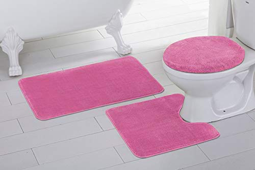 (Fancy Linen 3pc Non-Slip Bath Mat Set Solid Hot Pink Bathroom U-Shaped Contour Rug, Mat and Toilet Lid Cover New #Angela)