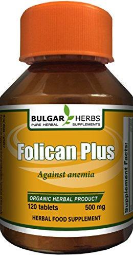 Folican Plus - For Treatment of Anemia (Organic Product) 120 Tablets, 500 Mg. ...