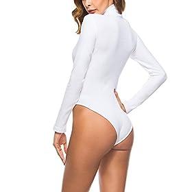- 41R6YgX 2BJXL - Queen.M Women's Basic Solid Bodysuit Turtleneck Leotard Top Long Sleeve Bodycon Jumpsuit Stretchy Romper