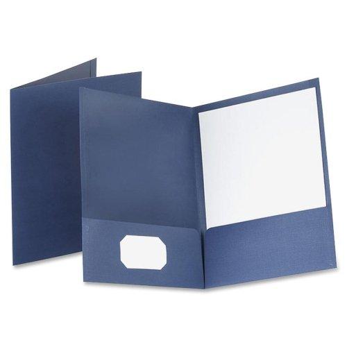 Wholesale CASE of 5 - Esselte Linen Twin Pocket Portfolios-Linen Twin Pocket Portfolio, 25/BX, Navy