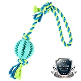 KAOSITONG Dog Chew Toys - Dog Rope Toy wit Ball Dog Toys Tug War Durable Toys Aggressive Chewers Small Medium Large Dogs & Cat,Natural Rubber - Effective Tooth Cleaning