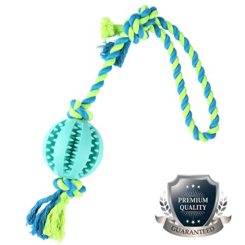 KAOSITONG Dog Chew Toys - Dog Rope Toy wit Ball Dog Toys Tug War Durable Toys Aggressive Chewers Small Medium Large Dogs & Cat,Natural Rubber - Effective Tooth Cleaning by KAOSITONG