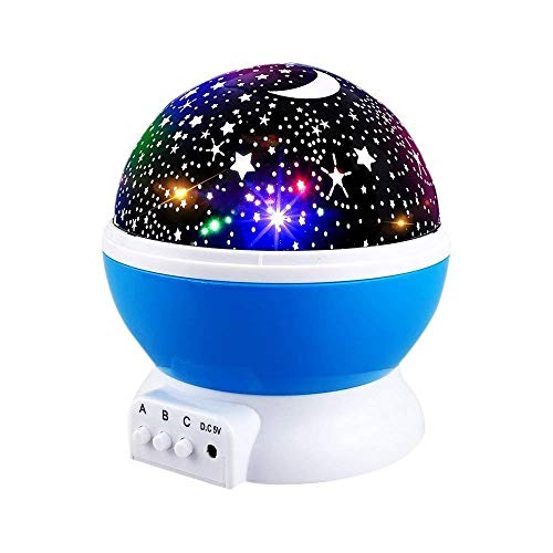 Homcasito Night Lights Starry Night Lamp Rotating Moon Romantic Rotating Cosmos Star Projector for Kids Toys 4 LED Bulbs 8 Modes with USB Cable Gifts(Blue)