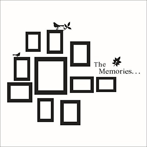 Fange DIY Removable the Memories Quotes 10 Black Photo Picture Frames Collage Birds Tree Branch Leaf Art Mural Vinyl Waterproof Wall Stickers Kids Room Decor Nursery Decal Sticker Wallpaper 41.3''x32.2''