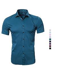 FLY HAWK Dress Shirts Men's Work Solid Color Slim Fit Bamboo Fiber Short Sleeve Shirt