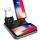 Wireless Charging Dock Charger Stand,Aluminum 4 in 1,Compatible iPhone X/Xs/Xs Max/8/8Plus/Samsung Galaxy S9/S9Plus,Charging Stand Station Compatible Apple watch/Airpods/iPhone7/7p/6/6Plus