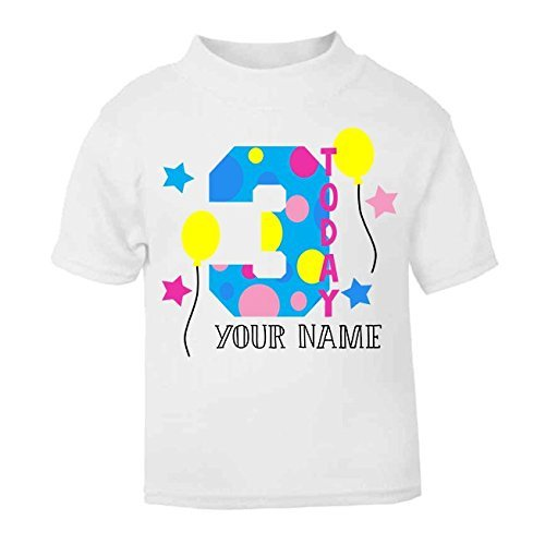 bbd40679b Personalised 3 Today Birthday T-shirt Third Birthday Top Children's Birthday  Top Custom Girls Birthday