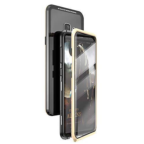 360° Full Body Case for Samsung Galaxy S9 Case,[Front and Back of Clear Touchable Strong HD Tempered Glass] with Built-in Screen Protector Magnetic Adsorption Metal Protection Cover Black+Gold