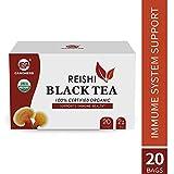 USDA Organic Herbal Detox Tea Reishi Mushroom Black Tea Bags with Ganoderma Lucidum Lingzhi - Immume Health&Sleep Support,20 Bags