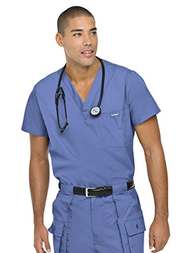 Stainless Arbor - Landau Essentials Men's Vented Scrub Top Ceil Blue 3XL