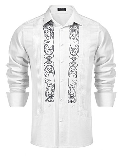 COOFANDY Mens Long Sleeve Embroidered Guayabera Cuban Shirt Casual Button Down Shirt,White,X-Large by COOFANDY
