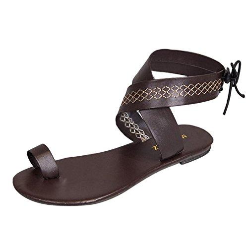 Han Shi Fashion Sandals, Women Cross Belt Strappy Flip Flops Gladiator Wedge Shoes (Brown, 9) by Han Shi