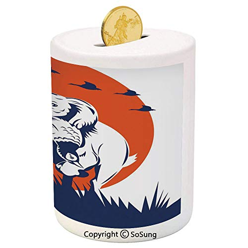 Hunting Decor Ceramic Piggy Bank,Cocker Spaniel Dog Retrieving Pheasant Flying Ducks at Sunset 3D Printed Ceramic Coin Bank Money Box for Kids & Adults,Dark Blue Orange ()