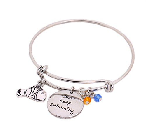 (Finding Nemo Dory Message Expandable Silver Bracelet Bangle Just Keep Swimming Pendant with Fish Crystal Charms Silver DIY Adjustable Bangle Cartoon)