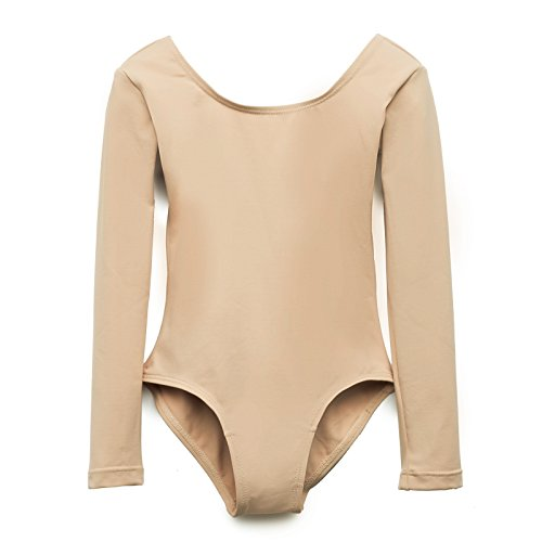 Elowel Girls' Team Basics Long Sleeve Leotard Nude (size 4-6 )