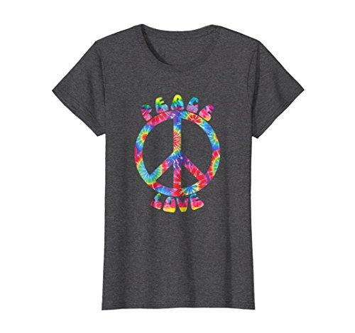 Female Sign Women T-shirt - Womens PEACE SIGN LOVE T Shirt 60s 70s Tie Die Hippie Costume Shirt XL Dark Heather