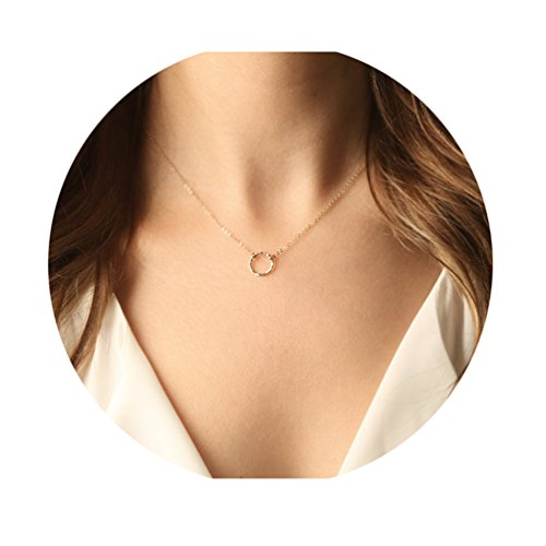 Gold Circle Moon Pendant Necklace-Women Dainty 14K Gold Filled Plated Hammered Minimalism Style New Moon Sisters Necklace Friendship Jewelry (New Moon Necklace)