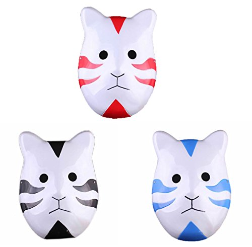 Black Ops Halloween Costumes (Naruto Ninja Shippuuden ANBU Anmie Cosplay Mask Black Ops Mask Set of 3PCS)