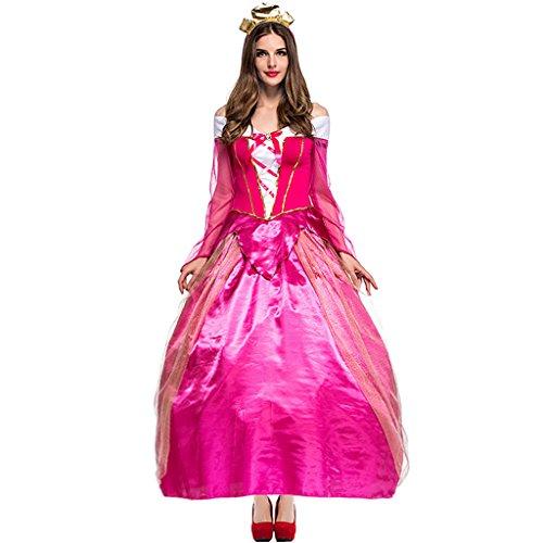 HUGGUH Super Mario Princess Peach Cosplay Halloween Role Play Costume PS2889 (Peach From Mario Costume)